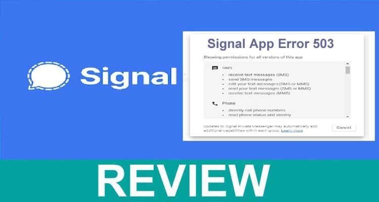 Signal App Error 503 2021.