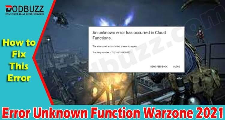 Error Unknown Function Warzone 2021